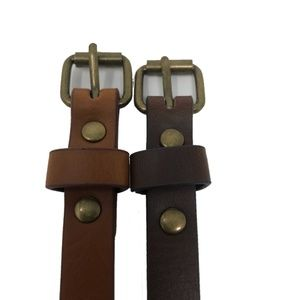 Target Accessories - Womens Brown and Tan Skinny 1/2 in TWO Belt Set